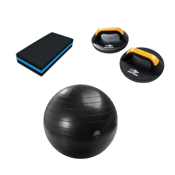 Kit Fitness: Gym Ball + Pro Push UP + Step Evamax